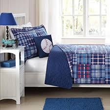 Twin Plaid Comforter Amazon Com 3 Piece Boys Blue Madras Plaid Quilt Twin Set Stylish
