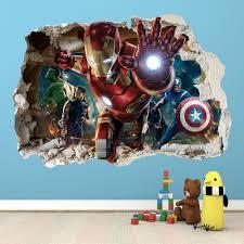 avengers home decor ironman smashed wall sticker 3d bedroom avengers hulk boys girls