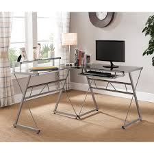 Mercury Corner Desk Monarch Black Metal L Shaped Computer Desk With Tempered Glass