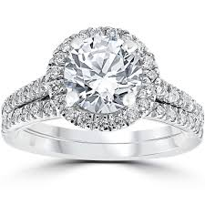 Engagement Wedding Ring Sets by 14k White Gold 2 3 4ct Tdw Halo Diamond Clarity Enhanced 2 Piece