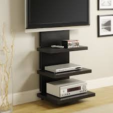 black wooden wall mounted tv cabinet with media storage interior