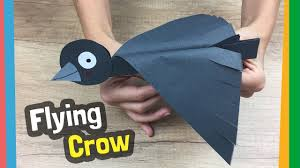 how to make flying bird out of paper flying crow craft easy to