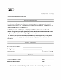 direct deposit authorization form office templates