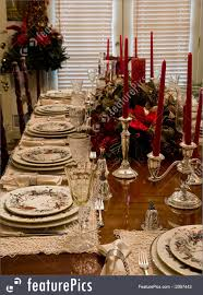 served tables christmas dinner place settings stock picture