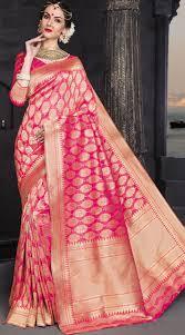 rani pink colour pink banarasi silk wedding saree 2wv0216