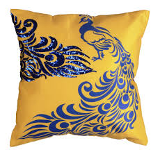 Sofa Covers Online Shopping India Mesleep Peacock Hand Embroidery And Digitally Printed Cushion