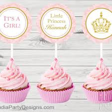 personalized royal princess cupcake toppers pink and gold