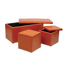 Vinyl Orange Ottoman Metro Orange Vinyl Ottoman Set Of 3 Office Products Ottomans