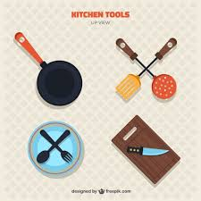 Top 17 Healthy Kitchen Gadgets Collection Of Kitchen Tools In Top View Vector Free Download