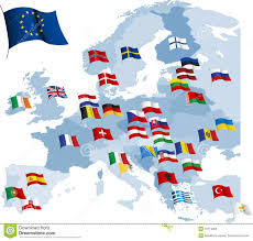 a map of europe with countries european country flags and map stock vector image 16119305