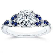 engagement rings sapphire images Antique moissanite and blue sapphire engagement ring with diamond jpg