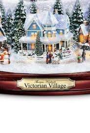 thomas kinkade victorian village illuminated musical snow globe by