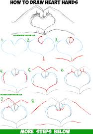 how to draw heart hands in easy to follow step by step drawing