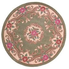 Chinese Aubusson Rugs 4ft Circle Wool Chinese Hand Tufted Aubusson Rugs In Green