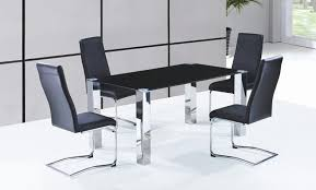 Modern Dining Chairs Leather Sets Stainless Steel Leg Dining Table And Leather Chrome Dining