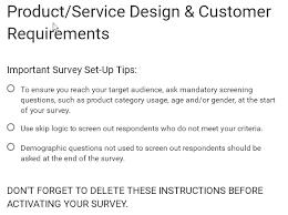 design criteria questions google form template product service design customer requirements