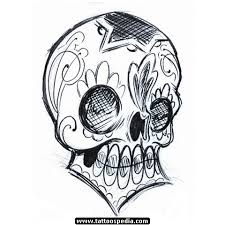 drawn sugar skull gangsta pencil and in color drawn sugar skull