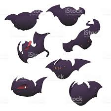 cute bats character set isolated on the white halloween party