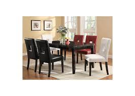 newbridge deep cappuccino dining table w 6 red side chairs s u0026s