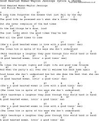 printable lyrics love song lyrics for good hearted woman waylon jennings with chords
