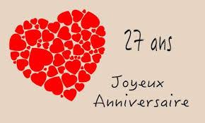 27 ans de mariage carte anniversaire mariage 27 ans coeur