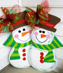 wooden snowman for your front door wooden door decoration