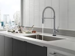 Delta Faucets Kitchen Sink by Trinsic Pro Kitchen Faucet Collection Featuring Touch Technology