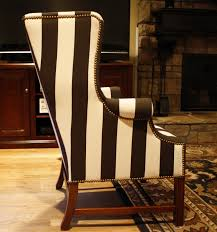 Black And White Striped Chair by Furniture Black U0026 White Upholstered Chair Using Nails Accent