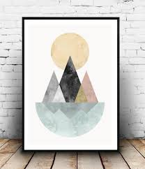 nordic design geometric abstract print nordic design art mountains and lake