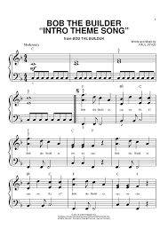 bob builder u0027intro theme song u0027 sheet music piano