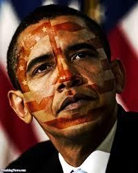 Barack Obama Flag American Flag Paint On Obama Face Funny Picture
