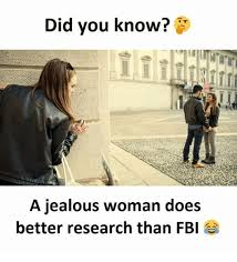 Jealous Girl Meme - did you know a jealous woman does better research than fbi fbi
