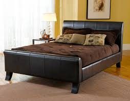 Black Leather Sleigh Bed Ivory Leather Upholstered Bed With Tufted Button Headboard And