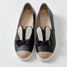 Black Comfort Shoes Women New Women Glitter Flat Slip On Loafer Cute Bunny Ear Decor Casual