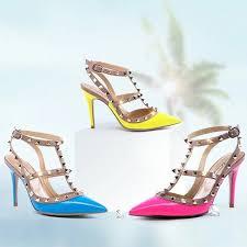 women u0027s green t strap dress shoes with rivets stiletto heels