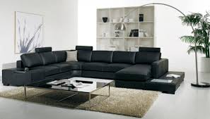 Modern Leather Sectional Sofa T35 Modern Black Leather Sectional Living Room Furniture