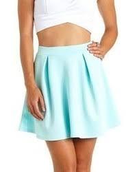 light blue skater skirt light blue high waisted skirt skirt ify