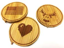 bamboo power bank elegant drink coaster your design chef charger