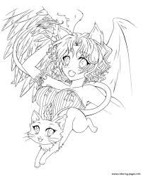anime demon angel coloring pages printable