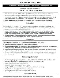 Resume Sample For Computer Programmer Sample Computer Programmer Resume U2013 Topshoppingnetwork Com