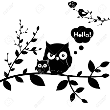 clipart owl black and white 2 owls isolated on white background vector illustration royalty