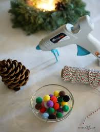 pom pom pinecone ornament craft tinkerlab