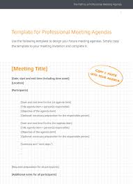 Quality Meeting Agenda Template by Create A Professional Meeting Agenda Meeting Agenda Template