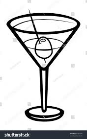 martini glasses clipart cartoon vector outline illustration martini stock vector 45389476
