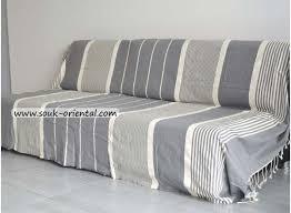 jetée de canapé lit fouta gris clair ée ivoire