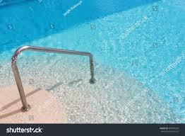 Swimming Pool Handrails Calm Swimming Pool Steps Handrail Summer Stock Photo 401829202