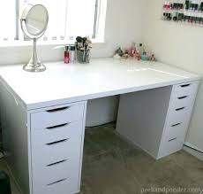 white table with drawers white desk with drawers on both sides white desk l white desk