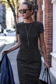 striped sheath dress and jean jacket memorandum nyc fashion
