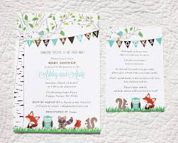 woodland baby shower invitations woodland animals birch tree banners baby shower invitations