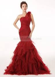 burgundy tulle one shoulder mermaid wedding dress